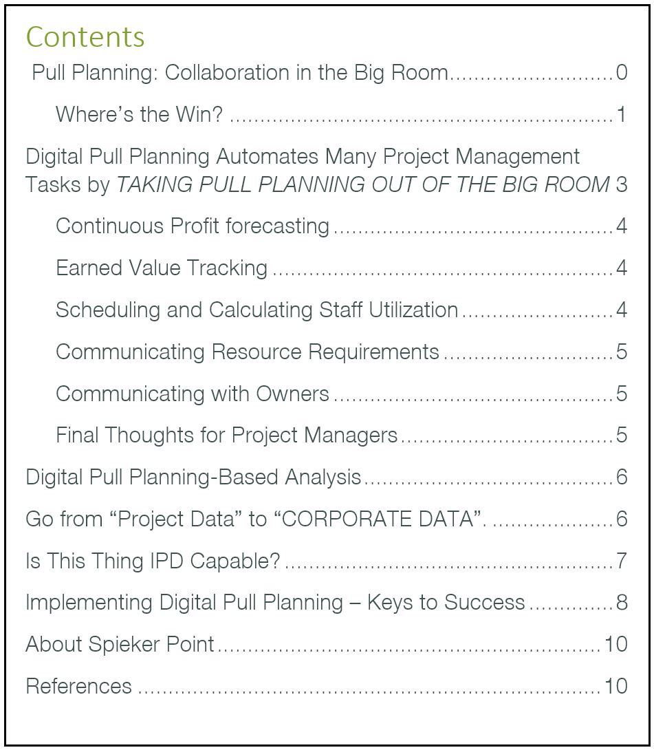 Implementing Digital Pull Planning for Building Design, Engineering and Construction Table of Content